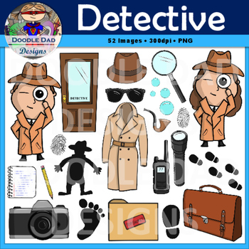 Detective Clip Art (Spy, Sherlock Holmes, Disguise, Magnifying Glass).
