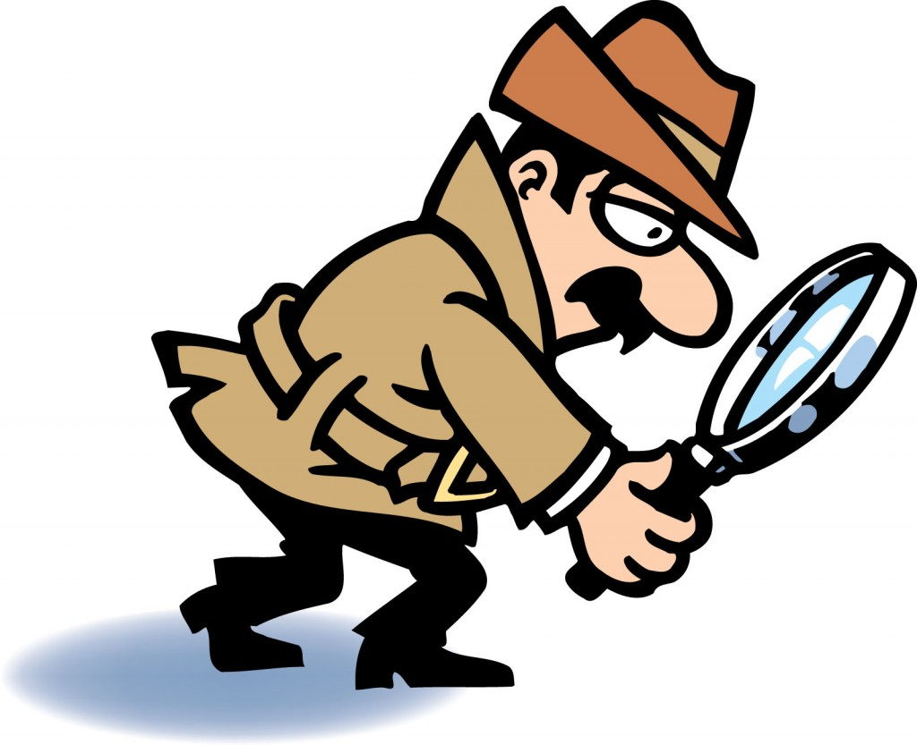 Kids Using Magnifying Glass Clip Art