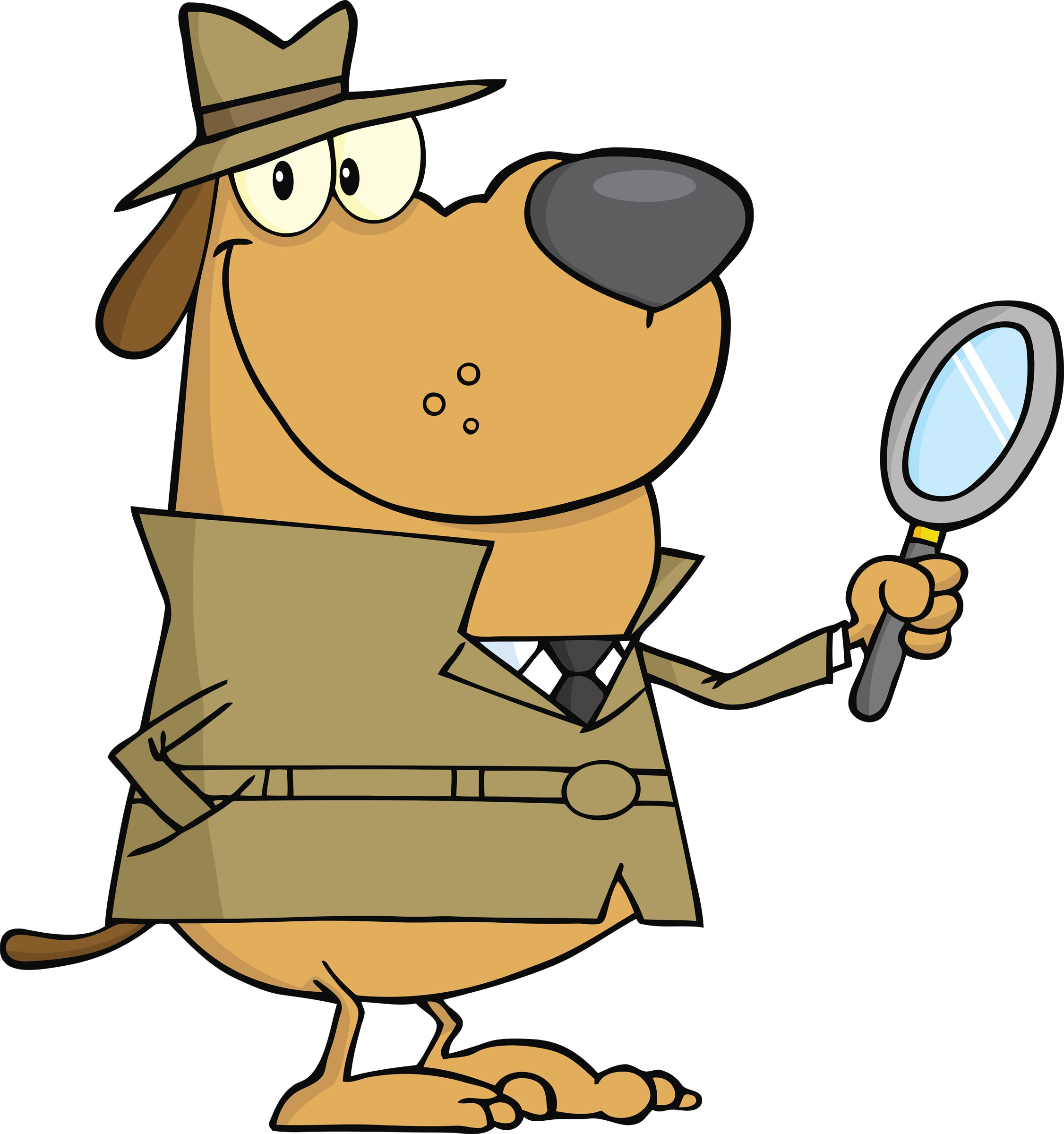 Dog Clipart Detective Magnifying Glass.