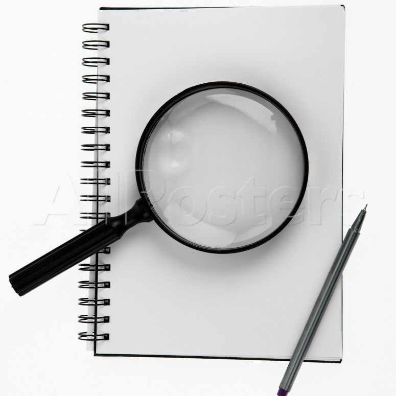 Notepad, Pen, and Magnifying Glass Photographic Print at.