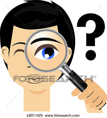 Detective with magnifying glass Clipart.