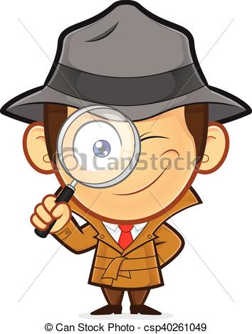 Detective holding magnifying glass.