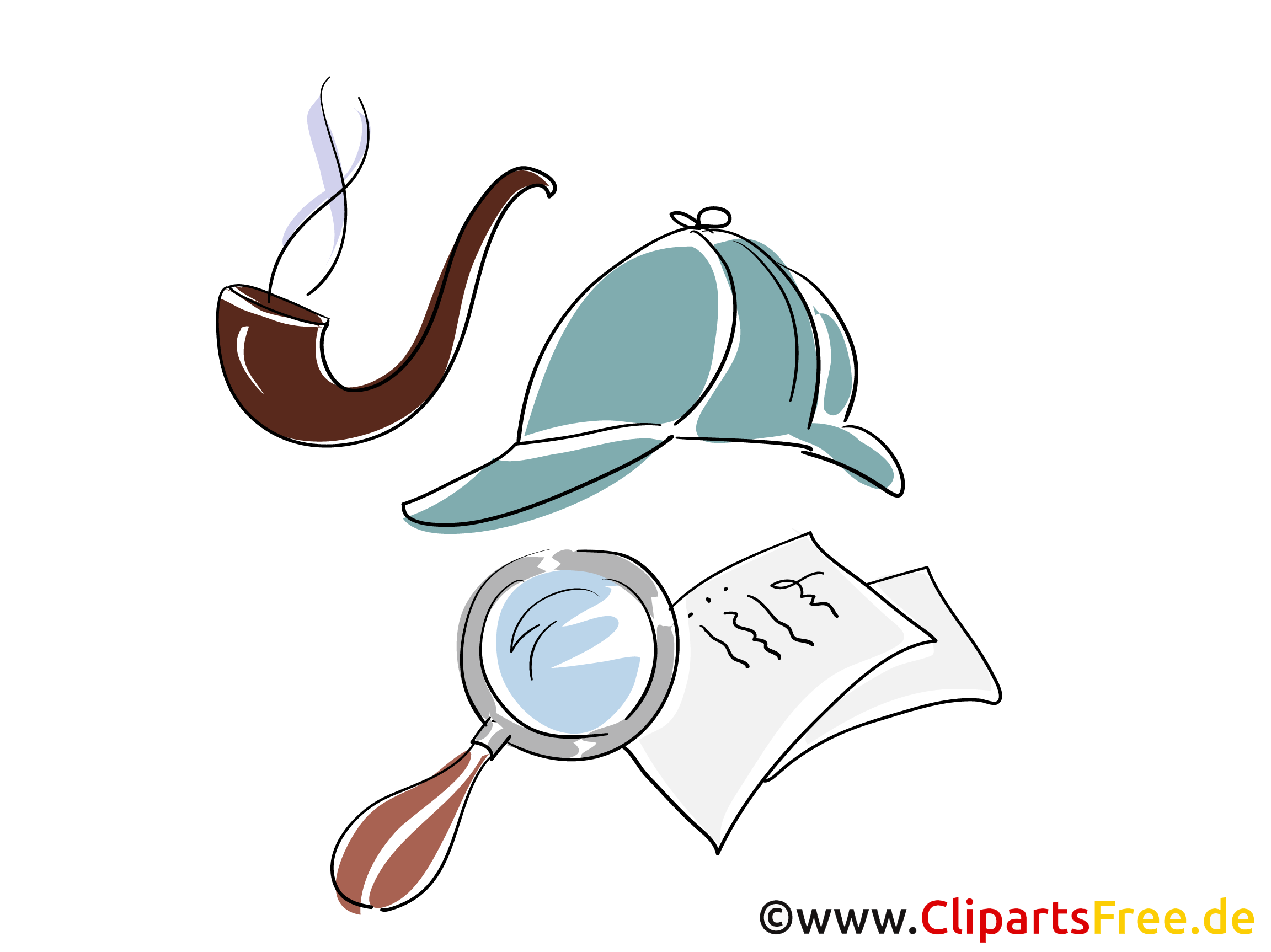 Sherlock Holmes detektyw clipart, ilustracja, obraz.