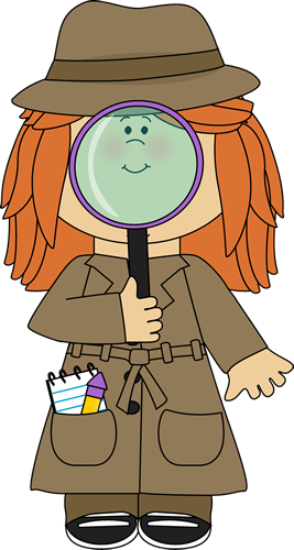 Girl Detective with Magnifying Glass Clip Art.