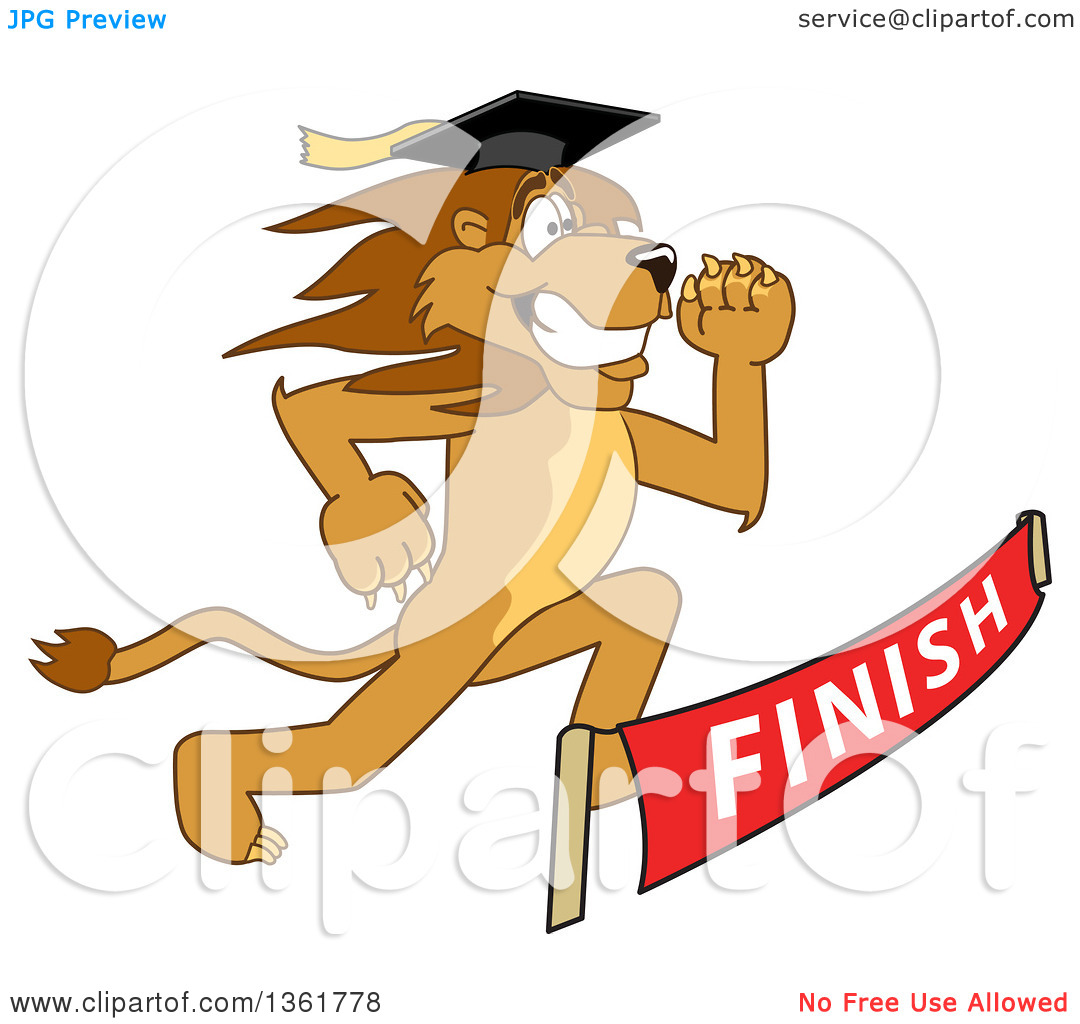 Clipart of a Lion School Mascot Character Graduate Running to a.