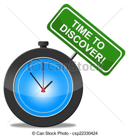 Clip Art of Time To Discover Represents Find Out And Ascertain.