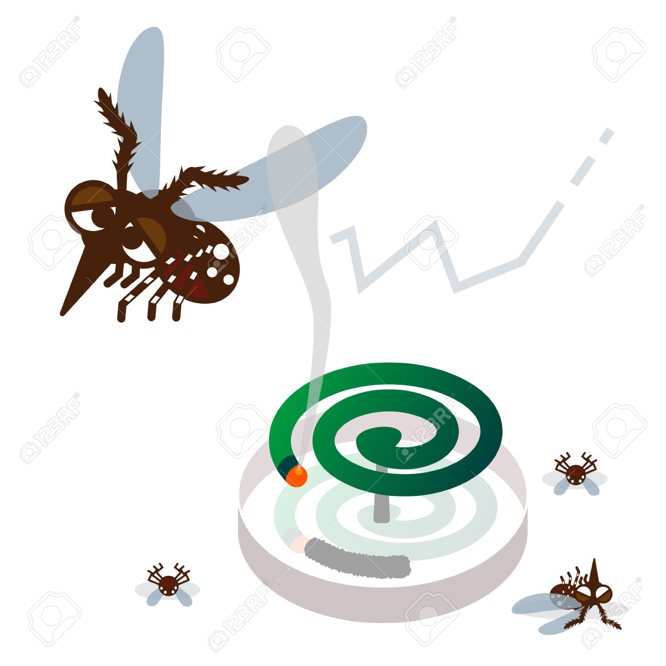 Mosquito Repellent Coil And Mosquito Royalty Free Cliparts.