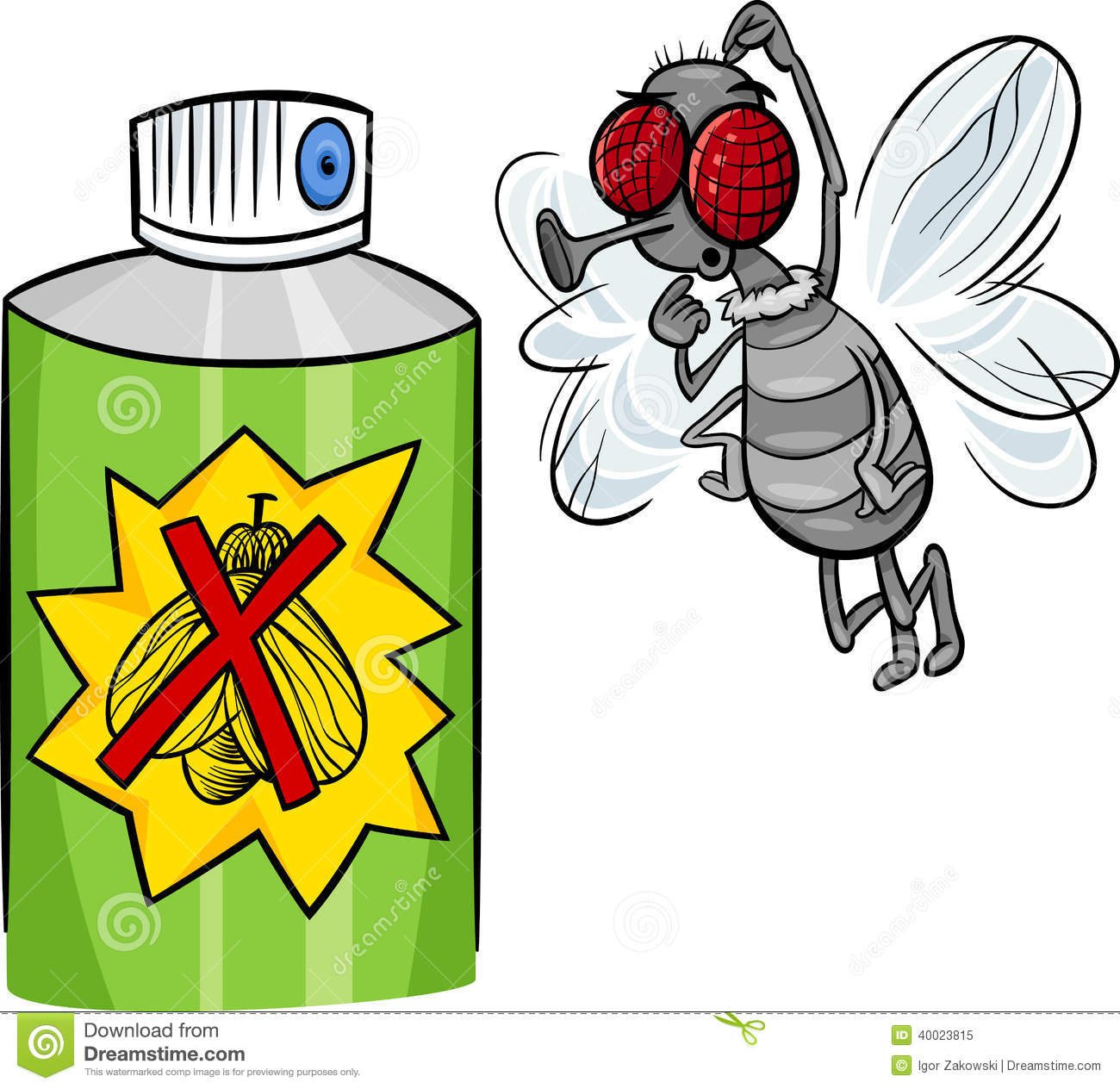 Insect spray clipart character.