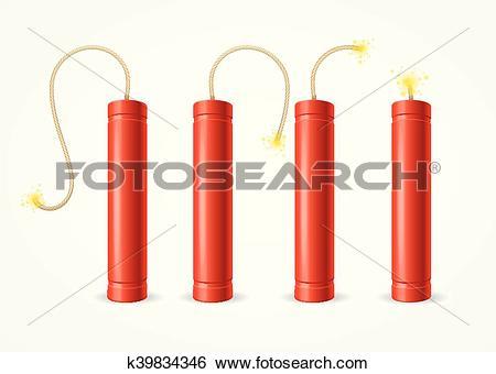 Clip Art of Detonate Dynamite Bomb Set. Vector k39834346.