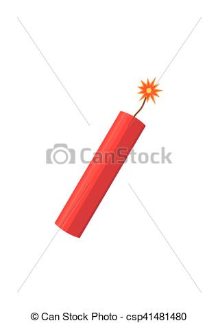 Vector of Dynamite bomb explosion with burning wick detonate.