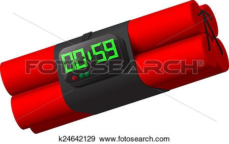 Clip Art of dynamite with self detonation system. k24642129.
