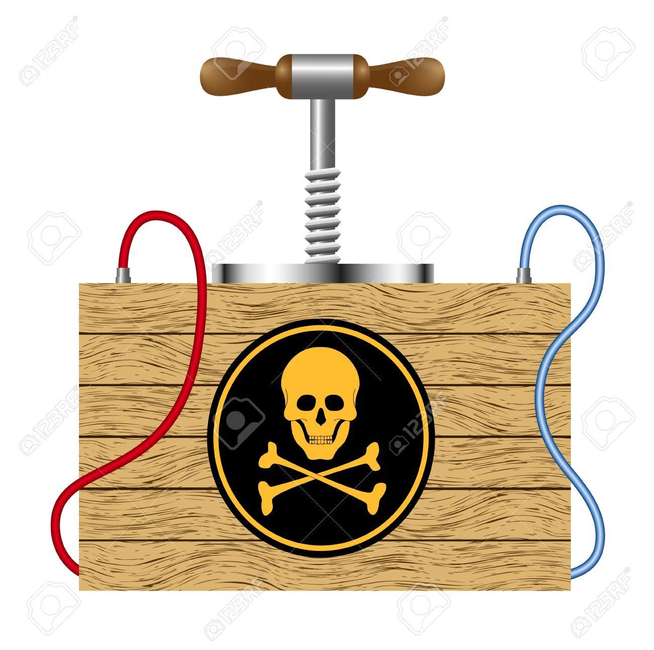 Bomb (detonation Cabinet) With Danger Sign (skull Symbol) Royalty.