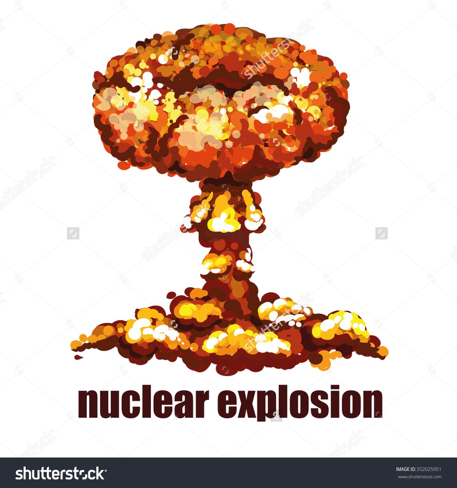 Nuclear Explosion Isolated Detonation Blast Vector Stock Vector.