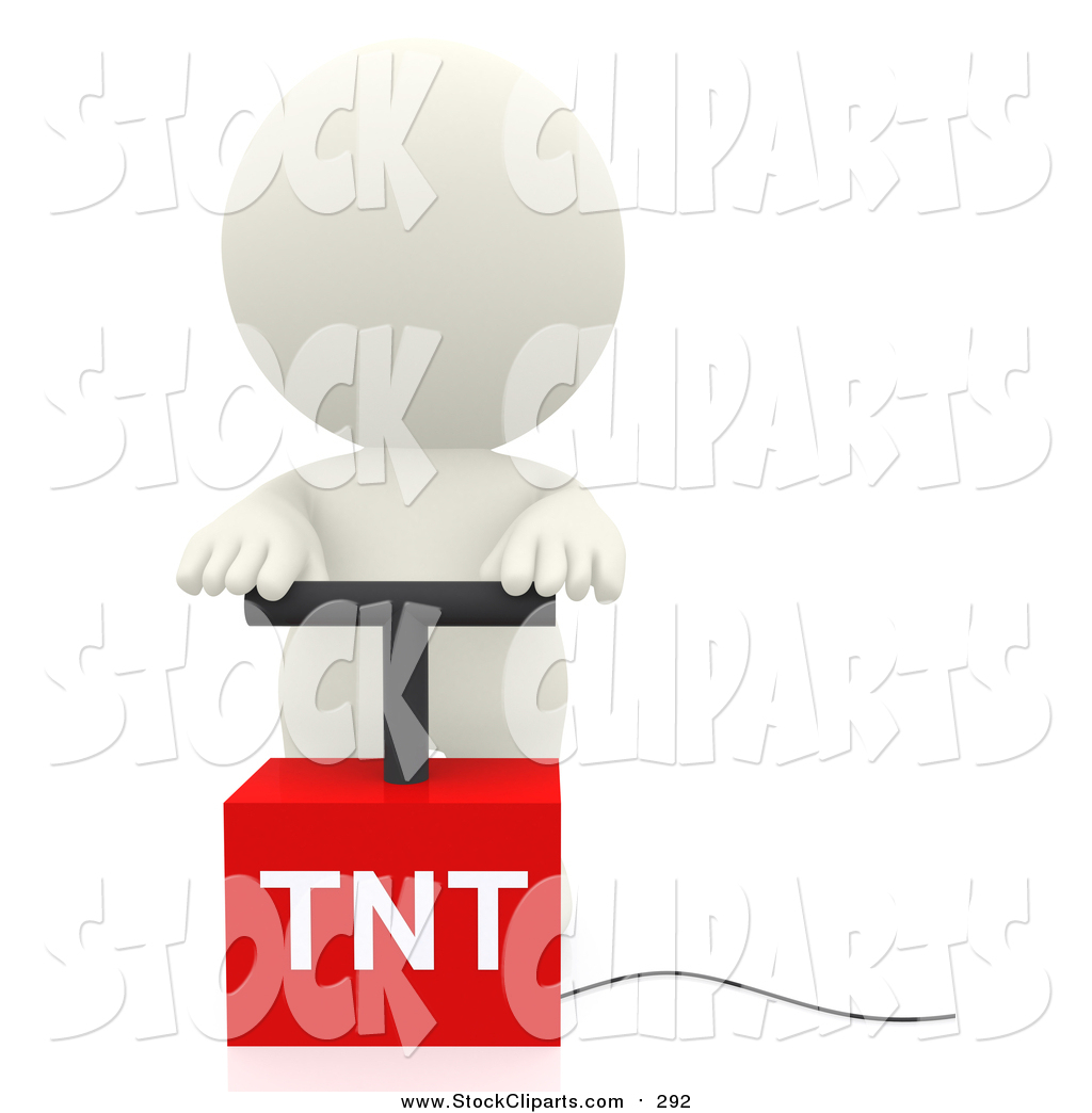 Clip Art of a 3d White Person with a Detonator by Andresr.