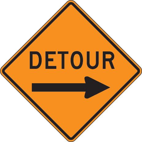 Detour Right Sign.