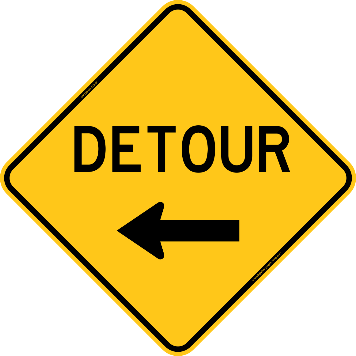Detour With Left Arrow Warning Trail Sign Clipart.