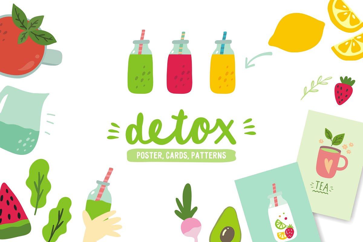 Detox poster, cards, patterns.