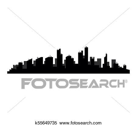 Detroit skyline Clipart.