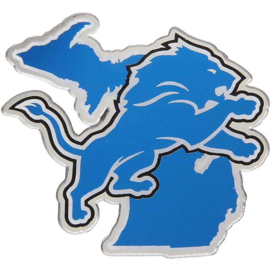 Detroit Lions State Shape Acrylic Metallic Auto Emblem.