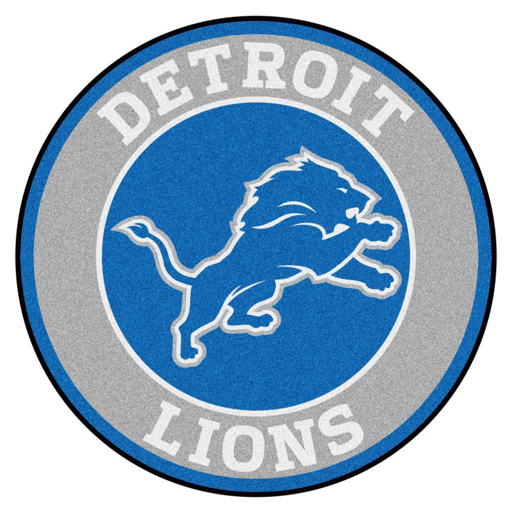 FANMATS NFL Detroit Lions Blue 2 ft. x 2 ft. Round Area Rug.