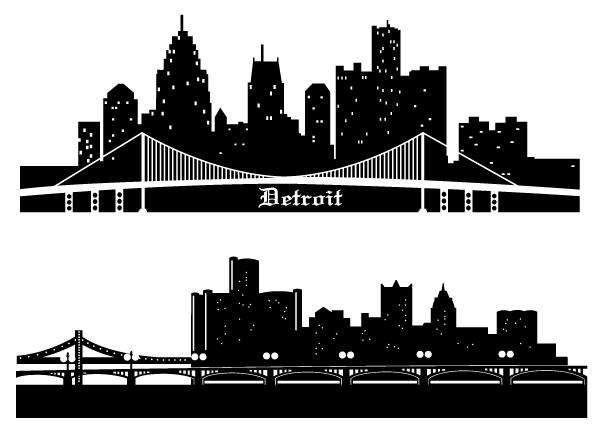 Detroit Skyline Vector Silhouettes Free.