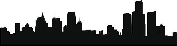 Graphic black Detroit skyline against a white background.