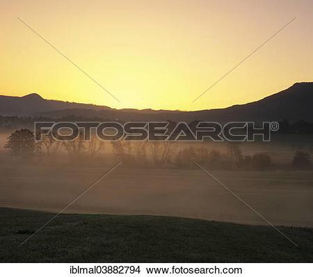 """Stock Photo of """"Sunrise over the Albtrauf escarpment, near."""
