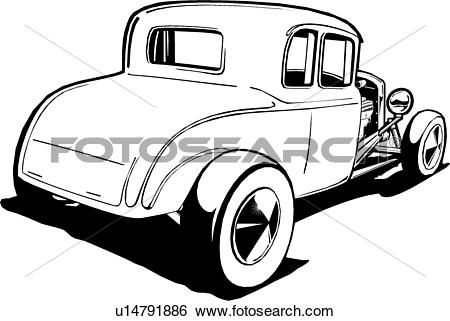 Clip Art of car, auto, automobile, cars, autos, automobiles, deuce.