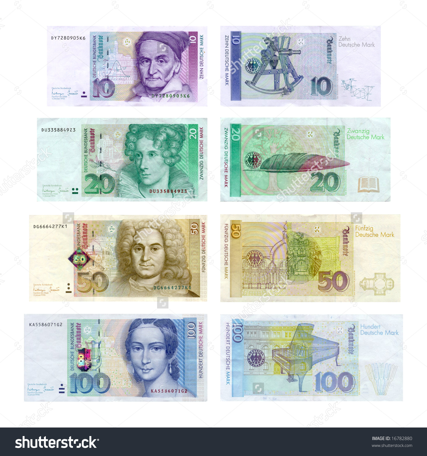 Old European Currency Deutsche Mark German Stock Photo 16782880.