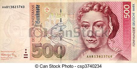 Stock Photo of Five hundred deutsche mark note.
