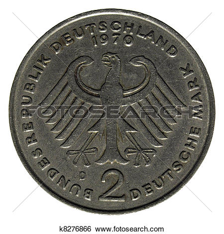 Stock Images of Two German marks (2 Deutsche Mark) coin k8276866.