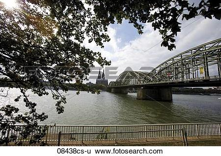 Stock Images of Germany, Cologne, Deutzer Bridge over Rhein.