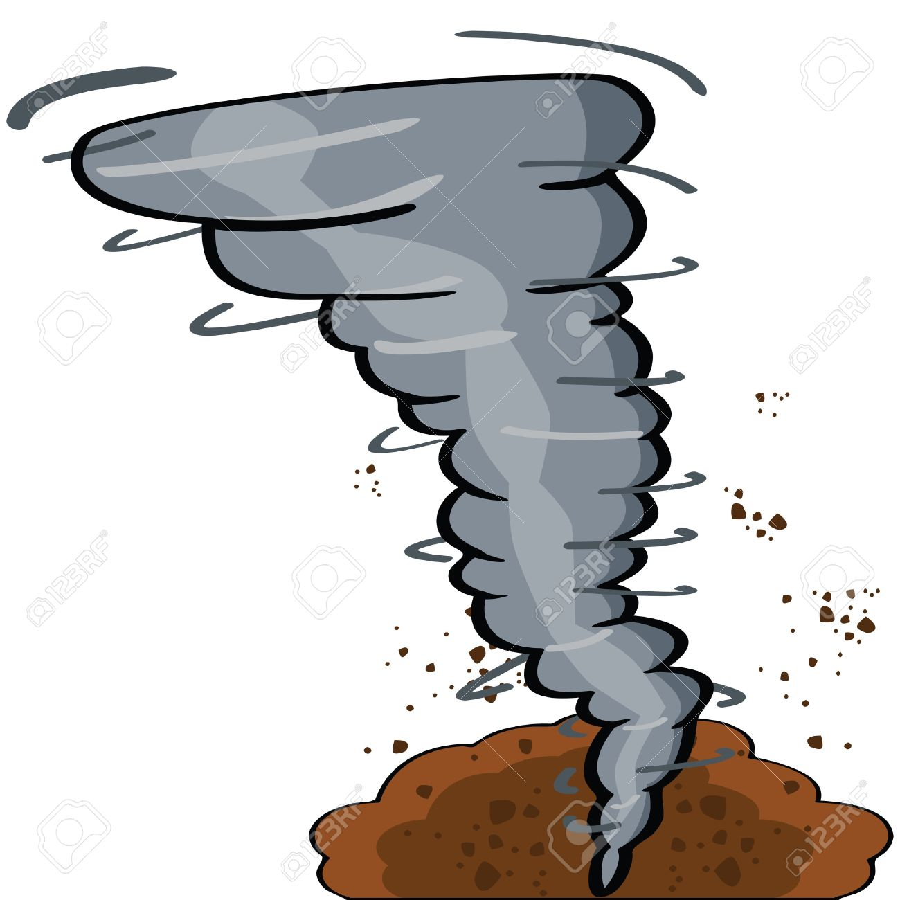 Cartoon Illustration Showing A Tornado Causing Destruction Royalty.