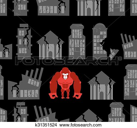 Clipart of Monkey destroyer in town. Angry Gorilla broke homes and.