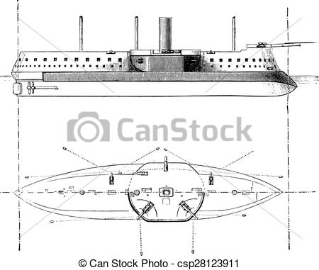 Vector Clip Art of Devastation, French battleship, vintage.