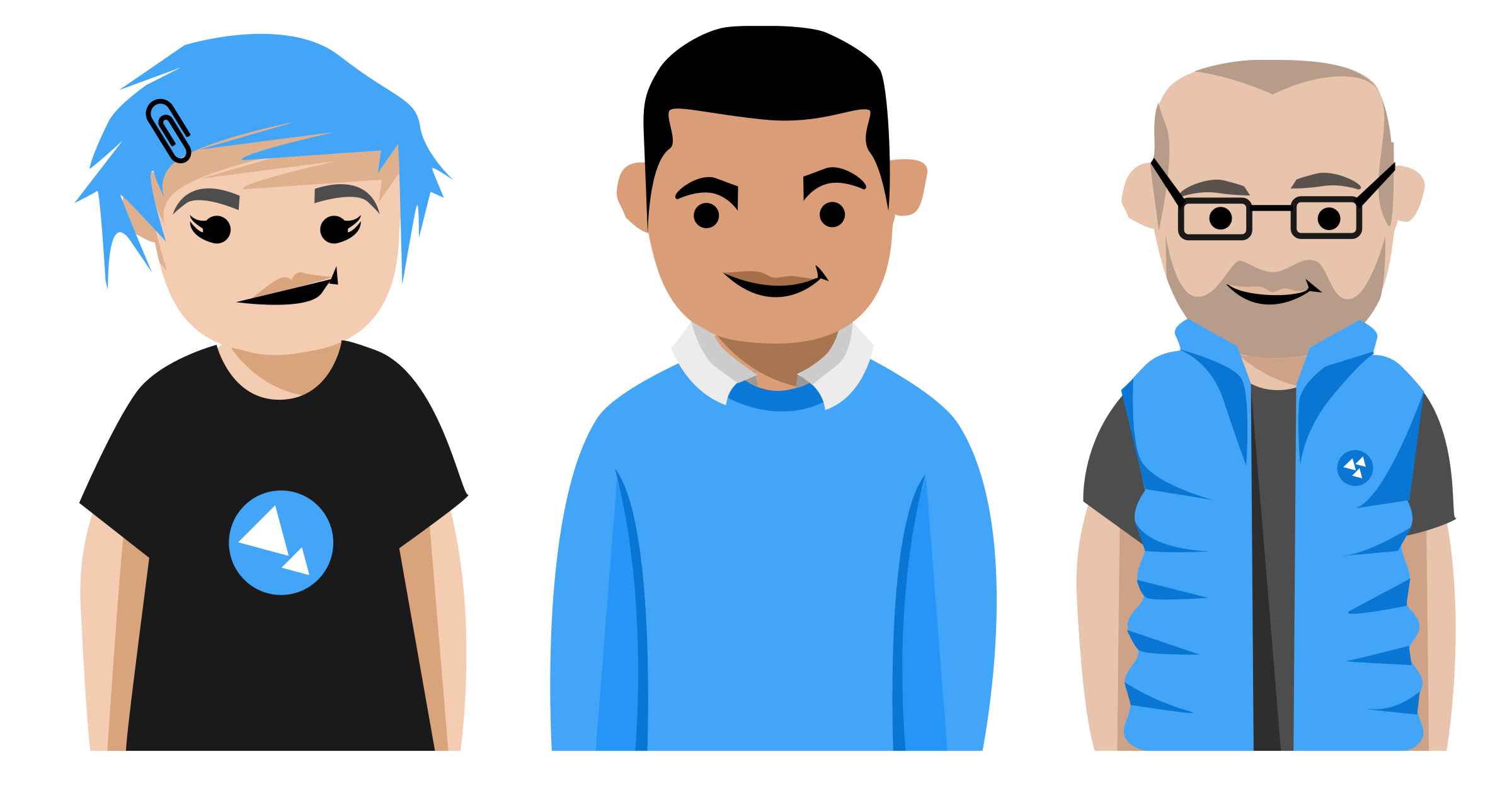 Three developers character set vector clipart image.