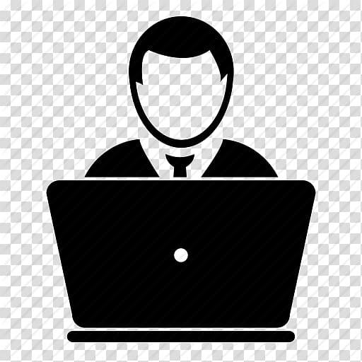 Silhouette illustration of man, Web development PHP Software.
