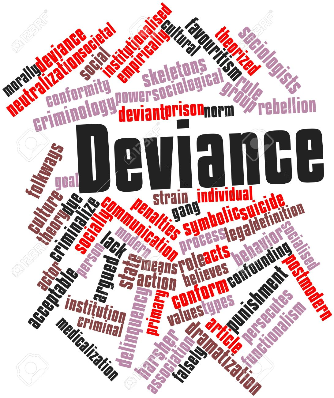 Abstract Word Cloud For Deviance With Related Tags And Terms Stock.