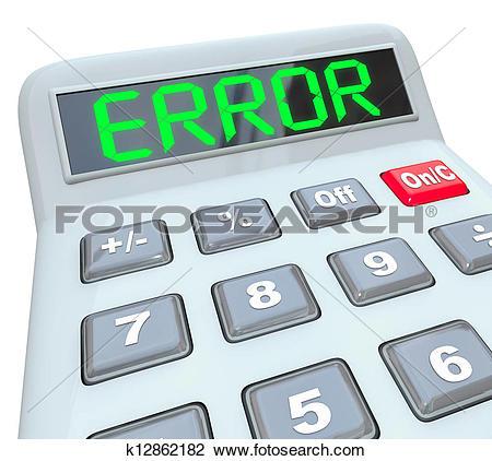 Clip Art of Error Word on Calculator Inaccurate Bad Data Glitch.
