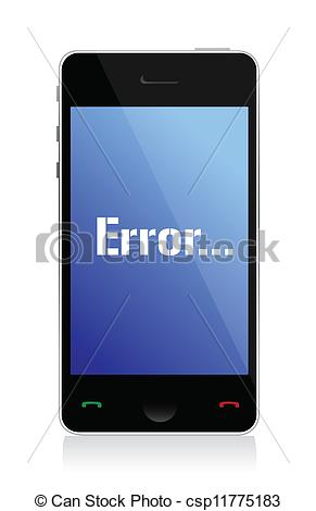 Vector of error message on phone illustration design over a white.