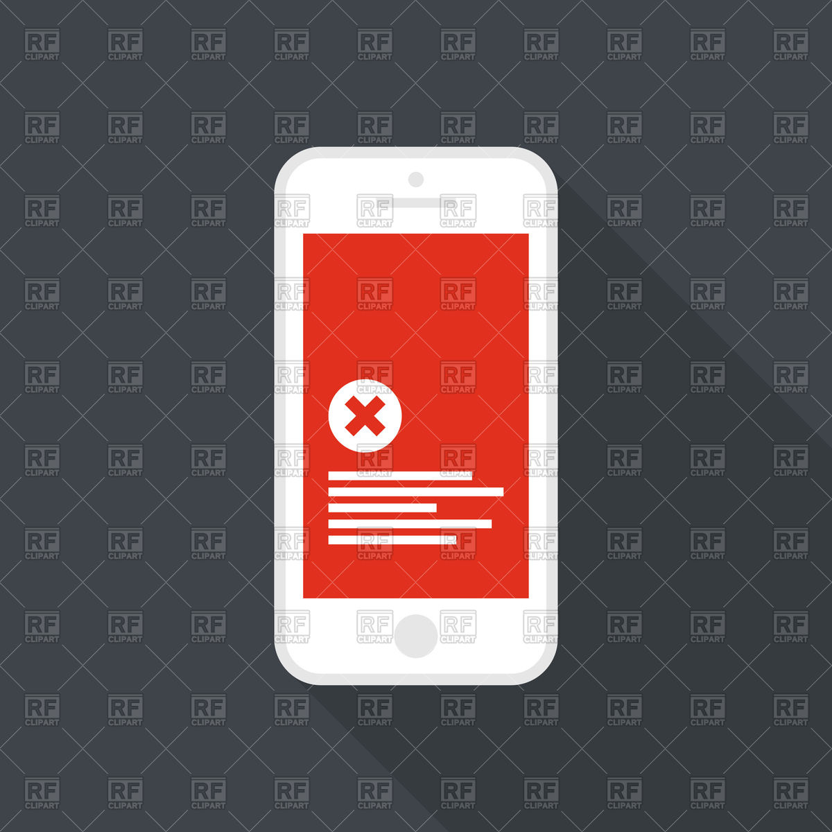 Red screen of error in your phone Vector Image #152185.