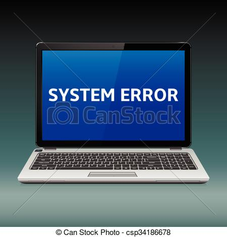 Vectors Illustration of Laptop with system error message on blue.