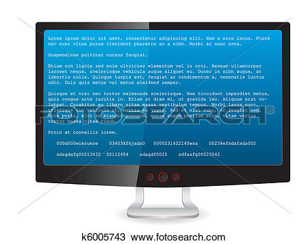 Clipart of Black tft monitor with error message k6005743.