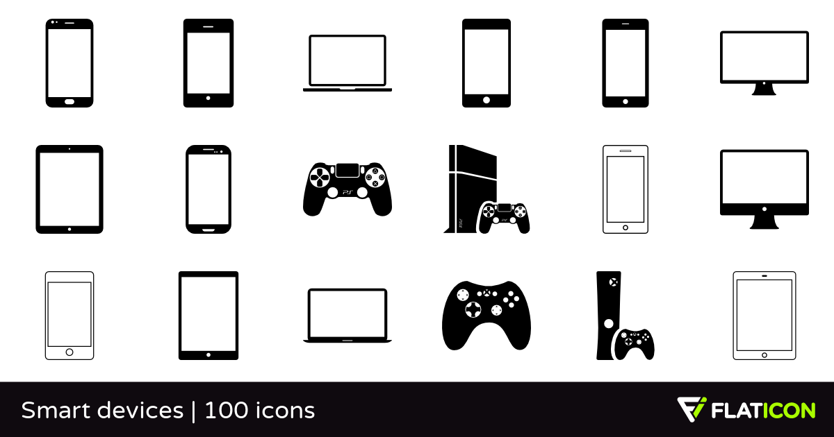Smart devices 100 free icons (SVG, EPS, PSD, PNG files).