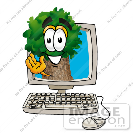 Clip Art Graphic of a Tree Character Waving From Inside a Computer.