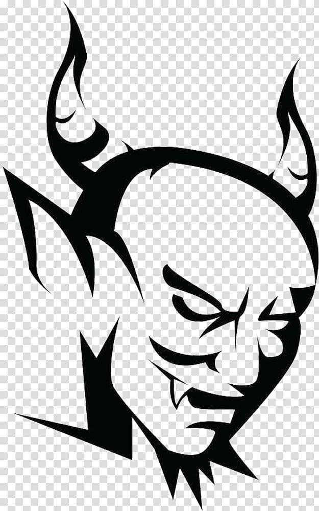 Devil Satanism Symbol, Black and white Satan transparent.