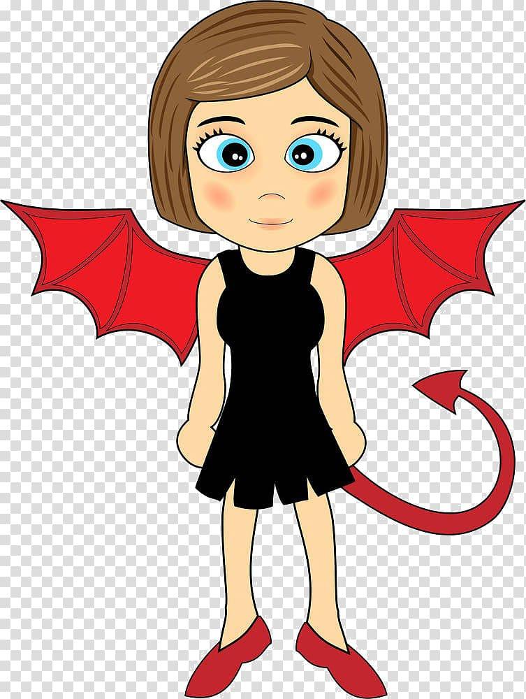 Devil Girl , Cartoon girl wings transparent background PNG.