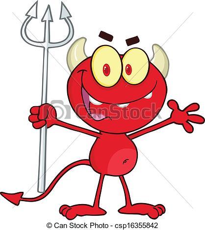 EPS Vector of Red Devil Holding Up A Pitchfork.