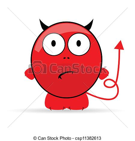 Vector Clip Art of sweet and cute devil vector illustration.