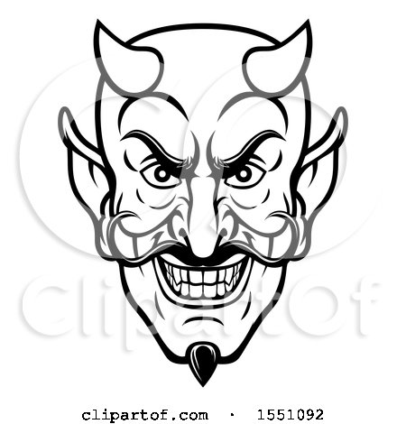 Clipart of a Black and White Grinning Evil Devil Face.